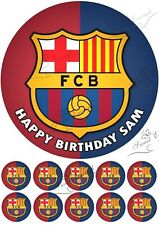 10 x cupcake One Round Barcelona icing Edible cake topper football birthday