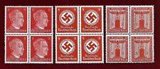 3 Nazi Germany Third 3rd Reich POST 8 pf FRANCHISE HITLER SWASTIKA stamp blocks