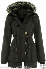 NEW PARKA Womens MILITARY Ladies JACKET COAT Shower Proof QUILTED Size 8 10 12