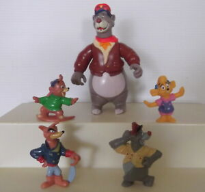 Disney Collectable Tailspin Character Figures PVC Toys - Baloo & set of 4 - USED