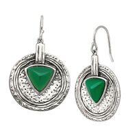 Silpada 'Emerald Isle' Natural Green Agate Drop Earrings in Sterling Silver