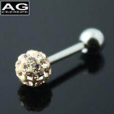 A single Light peach cubic snow ball barbell earring stud piercing 18g
