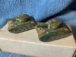 """(2) Vintage 1950/1960's MT 108 General Patton Tank Friction Tin Toy 2 3/4"""" long"""