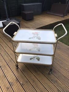 Vintage Retro Party Tea Drinks Cocktail Trolley With Roses ON CASTOR WHEELS