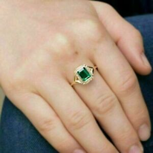 2.23Ct Emerald Cut Green Emerald Halo Engagement Ring Solid 14K Yellow Gold Over