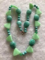 1930s Peking Glass Necklace Art Deco Green Vintage Retro Geometric Jewellery Old
