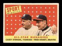 1958 Topps Set Break # 475 Casey Stengel-Fred Haney All Star VG-EX *OBGcards*