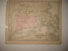 ANTIQUE 1866 MASSACHUSETTS CONNECTICUT RHODE ISLAND BOSTON HANDCOLR MAP RAILROAD