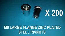 200X STEEL ZINC PLATED RIVNUTS M6 NUTSERT RIVET NUT LARGE FLANGE NUTSERTS RIVNUT