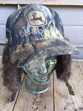 John Deere Cap Hat Vintage Camo Neck Flap Faux Fur OS Cary Francis Group NWOT