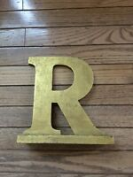 Letter R sign in antique gold