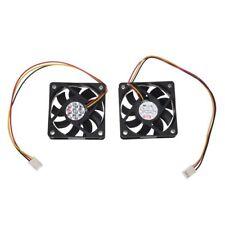 60mm 6cm DC 12V 3 Pin Computer Case CPU Cooler Cooling Fan Black 2 Pcs WS Q8L9