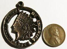 "Vintage Pendant 1970s Indian Head Penny Bronze Repro 1 5/16"" Diameter"