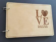 Personalized A5 size Wooden Wedding Guest Book, varnished