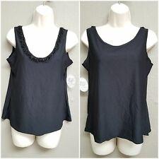 Kleids Womens XL 2-in-1 Black Sleeveless Top Floral Detail, Forward Backward $56
