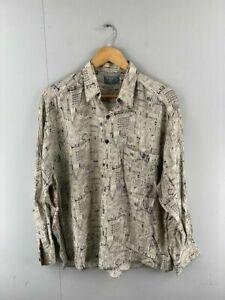 Navaho by Rowland Smith Mens Black Beige Geometric Button Up Shirt Size Medium