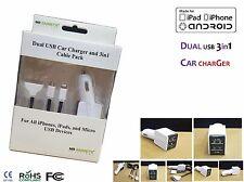 Universal 2in1 puerto Dual USB cargador coche 2Amp con Fácil de usar 3 in1 Cable