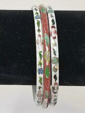 3 VINTAGE Jewelry CHINESE CLOISONNE ENAMEL FLOWER BANGLE BRACELET LOT STACK