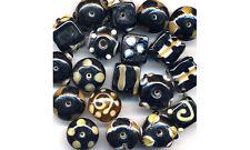 Indian lampwork glass bead mix - black and caramel