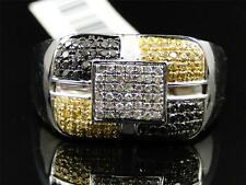 Mens White Gold Finish Black White Yellow Diamond Fashion Design Band Pinky Ring