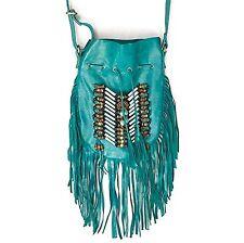 Boho Bag Round S | Real Leather | Fringe Purse | Bohemian Bags Turquoise