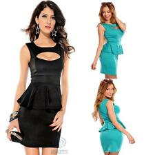 Sexy Mini Elastic Peplum Sleeveless Cut Out Formal Evening Cocktail Party Dress