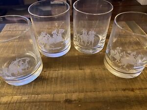 (4) Vintage Ralph Lauren Polo Old Fashioned Lowball Glasses 1983 Signed Horses
