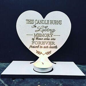 MEMORIES IN HEAVEN POEM ON HEART TEA LIGHTER HOLDER ..THE CANDLE BURNS...