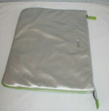 """Sony Vaio Laptop Sleeve Zip Case Cover Silver w/ Green Interior 16.25""""W x11.75""""H"""