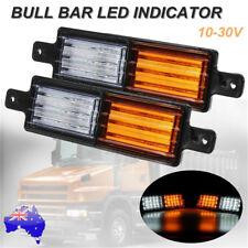 2x LED FRONT INDICATOR PARKER CLEAR AMBER LIGHT BULLBAR 4X4 4WD LAMP 12V 24V AU
