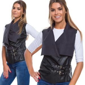Womens Sleeveless Zipped Jacket Ladies Faux Leather Open Waistcoat Cardigan W5