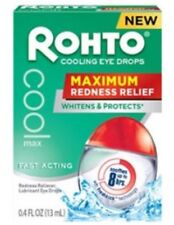 Rohto Maximum Redness Relief Cooling Eye Drops, 0.4 Fl Oz, New