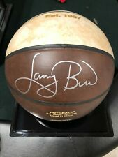 Larry Bird autographed basketball and display case