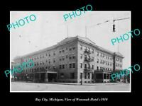 OLD LARGE HISTORIC PHOTO OF BAY CITY MICHIGAN, VIEW OF THE WENONAH HOTEL c1920
