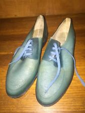 Vtg Dermolast Made In Greece Plastic Shoes Woman's Sz 36 US 6 Blue