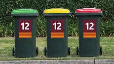 NRL BRONCOS League Wheelie Garbage Bin Rubbish Sticker House Number Vinyl Decal