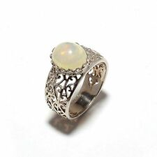 925 Sterling Silver Natural Opal Gem Stones Rings Men's Jewelery Size 9,10,11