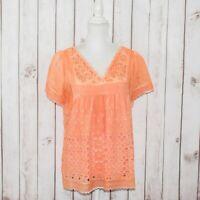 Sundance Catalog Women's Vneck Blouse Lace Mesh Orange Faded Sz Large