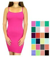 Womens Long Cami Dress - Solid Color Seamless Camisole Slip Dress by Belle Donne