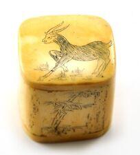 Vintage Chinese Bone Hand Carved Carving Treasure Jewelry Box Zodiac Goat Lamb