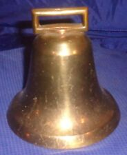 "BM035 Antique Solid Cast Brass Cow Bell 4.5"" Dia."