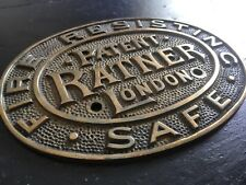 "⭐ ancienne vintage antique ""Ratner"" Genuine Brass Safe plaque ⭐"