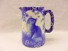 Blue calico cat design half pint jug pitcher jug by Heron Cross Pottery