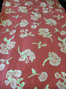 Pottery Barn Floral Full/Queen Duvet Red Pink Yellow Green Cotton Damage