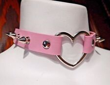 PASTEL PINK SPIKED HEART RING COLLAR silver rivet choker punk necklace vinyl R2
