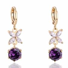 Beautiful New 14K Yellow Gold Filled Amethyst & CZ Flower Hoop Dangle Earrings