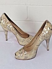 "JOAN & DAVID SHOES Size 7M  ""Dafelicita"" Cream /silver  Snake Python Leather"