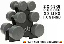 🏋 15kg Opti 7 Piece Circular Vinyl Fixed Dumbbell Set w/ Storage Tree Brand New