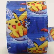 RUBAN GROS GRAIN ** 22 mm * Personnage Pokémon Pikachu Fond bleu - vendu / mètre