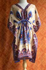 S1096 Boho Casual Viscose Paisley Kaftan Caftan Kimono Summer Top S M L  XL 2X